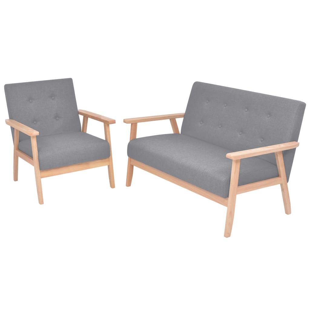 vidaXL Zestaw wypoczynkowy: sofa i fotel, materiałowy, jasnoszary