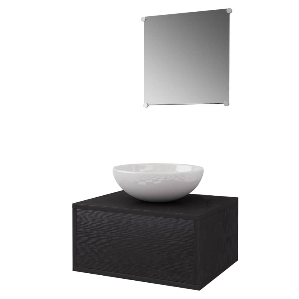 Combien De Cfm Pour Une Salle De Bain ~ Vidaxl Meubles De Salle De Bains Trois Pcs Noir Armoire Mural Miroir