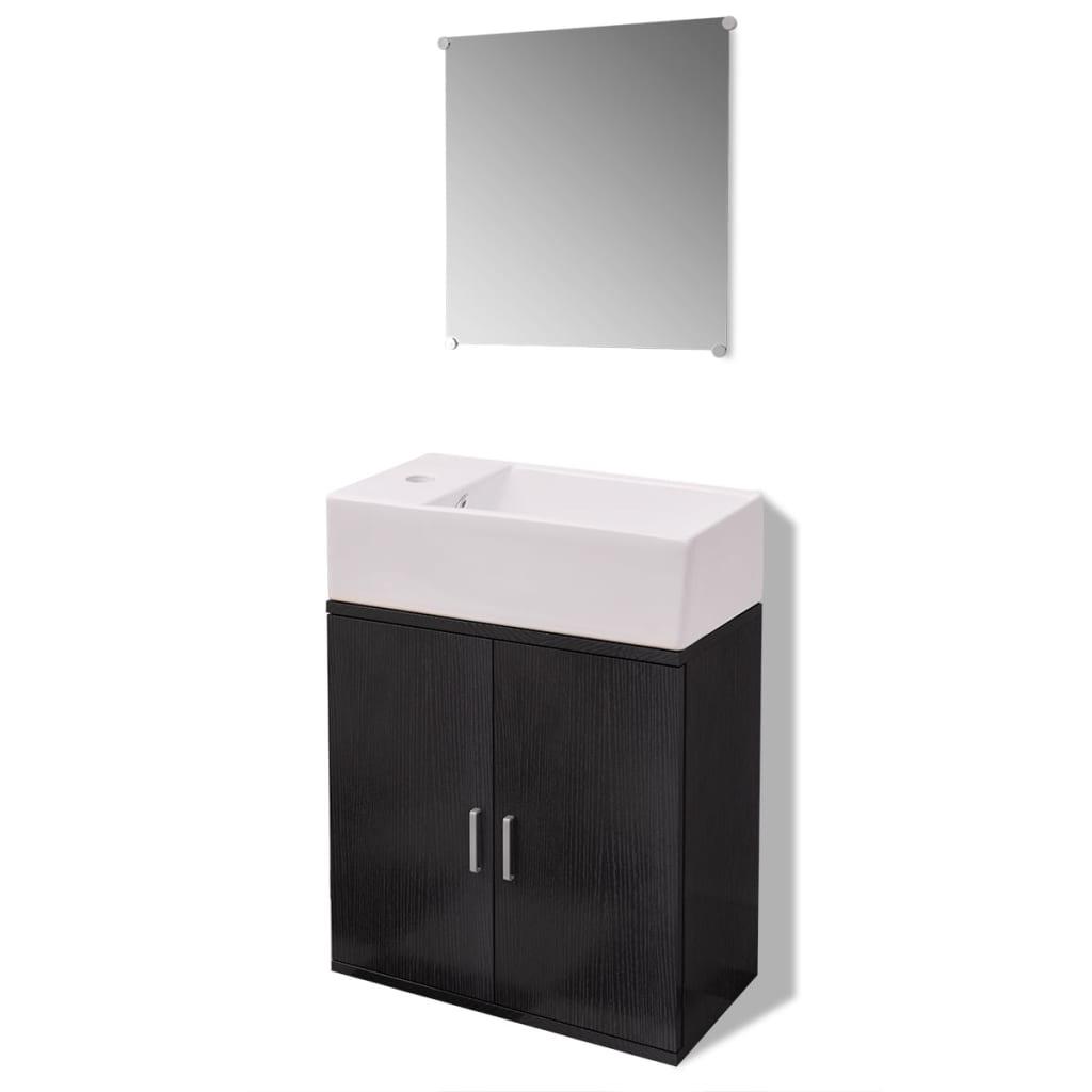 Vidaxl dreiteiliges badm bel set mit waschbecken schwarz - Waschbecken schwarz ...