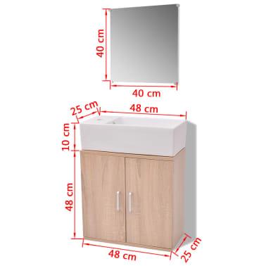 Vidaxl set 3 pz mobili da bagno e lavandino beige for Mobili a buon prezzo
