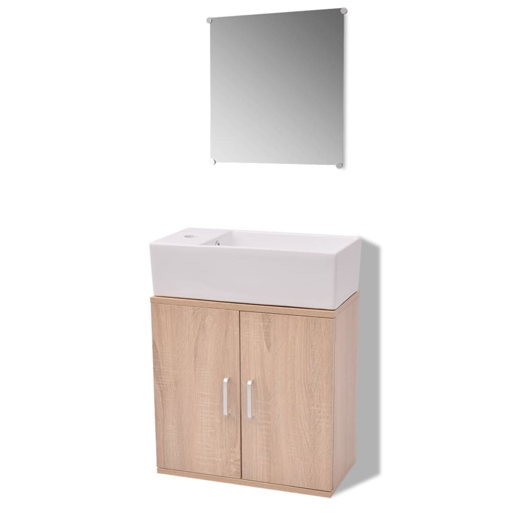 Vidaxl Three Piece Bathroom Furniture And
