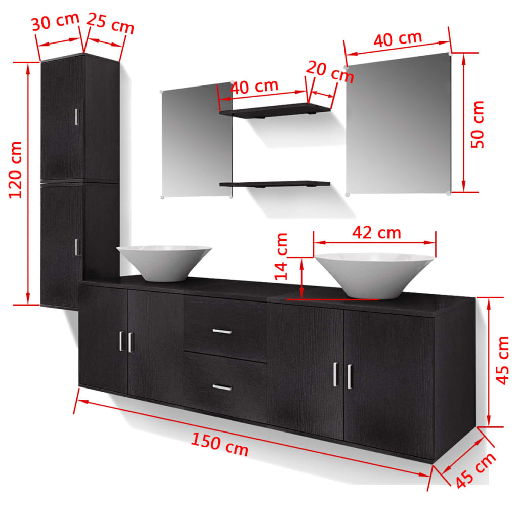 acheter vidaxl 9 pi ces de mobilier de salle de bain et. Black Bedroom Furniture Sets. Home Design Ideas