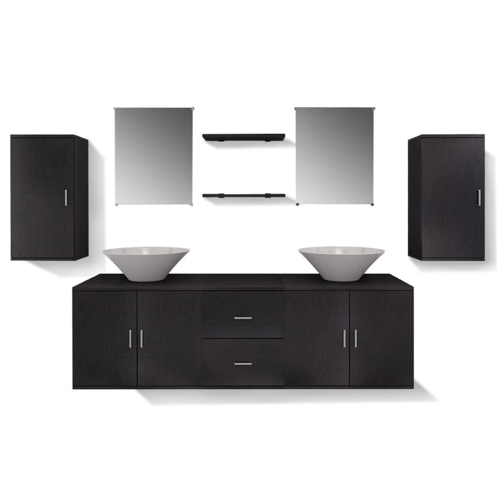 Articoli per vidaxl set 9 pz mobili da bagno e lavandino - Lavandino bagno nero ...