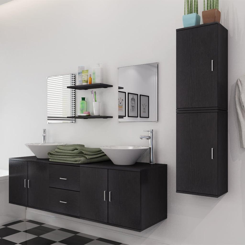 Vidaxl set mobiliario de ba o con lavabo 9 uds negro for Mobiliario para banos