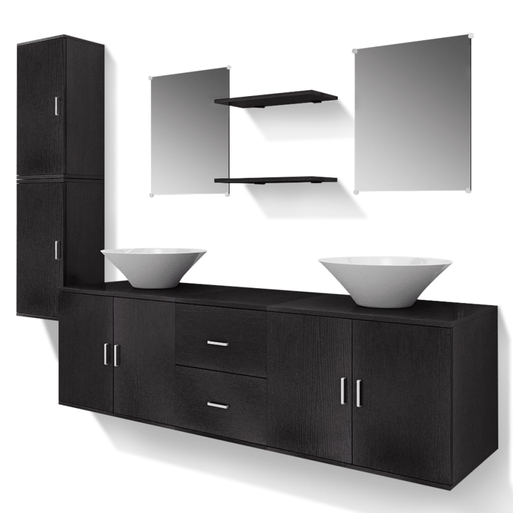 vidaxl 9 tlg badm bel und waschbecken set schwarz g nstig. Black Bedroom Furniture Sets. Home Design Ideas