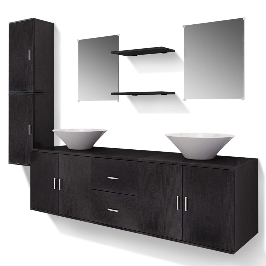 vidaXL 9 elementowy zestaw czarnych mebli łazienkowych i umywalka