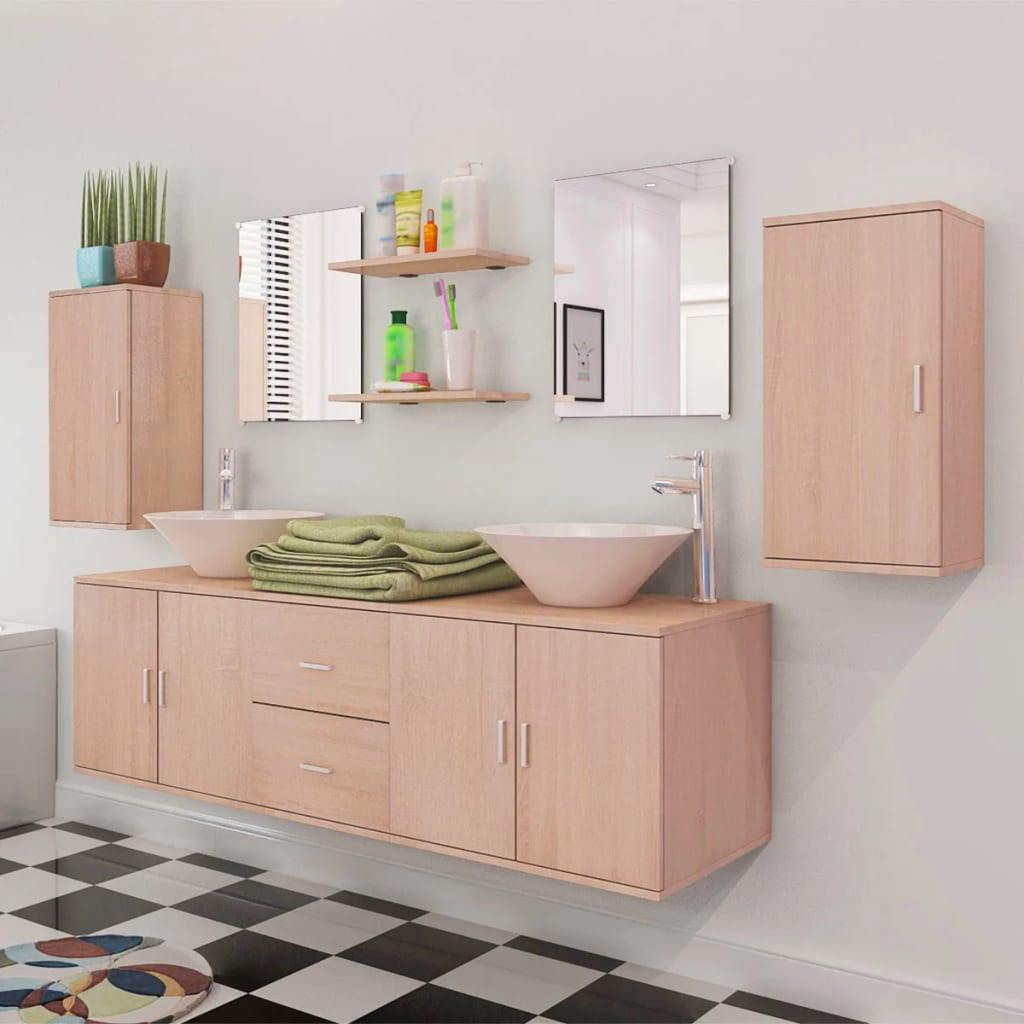 acheter vidaxl 9 pi ces de mobilier de salle de bain et lavabo beige pas cher. Black Bedroom Furniture Sets. Home Design Ideas
