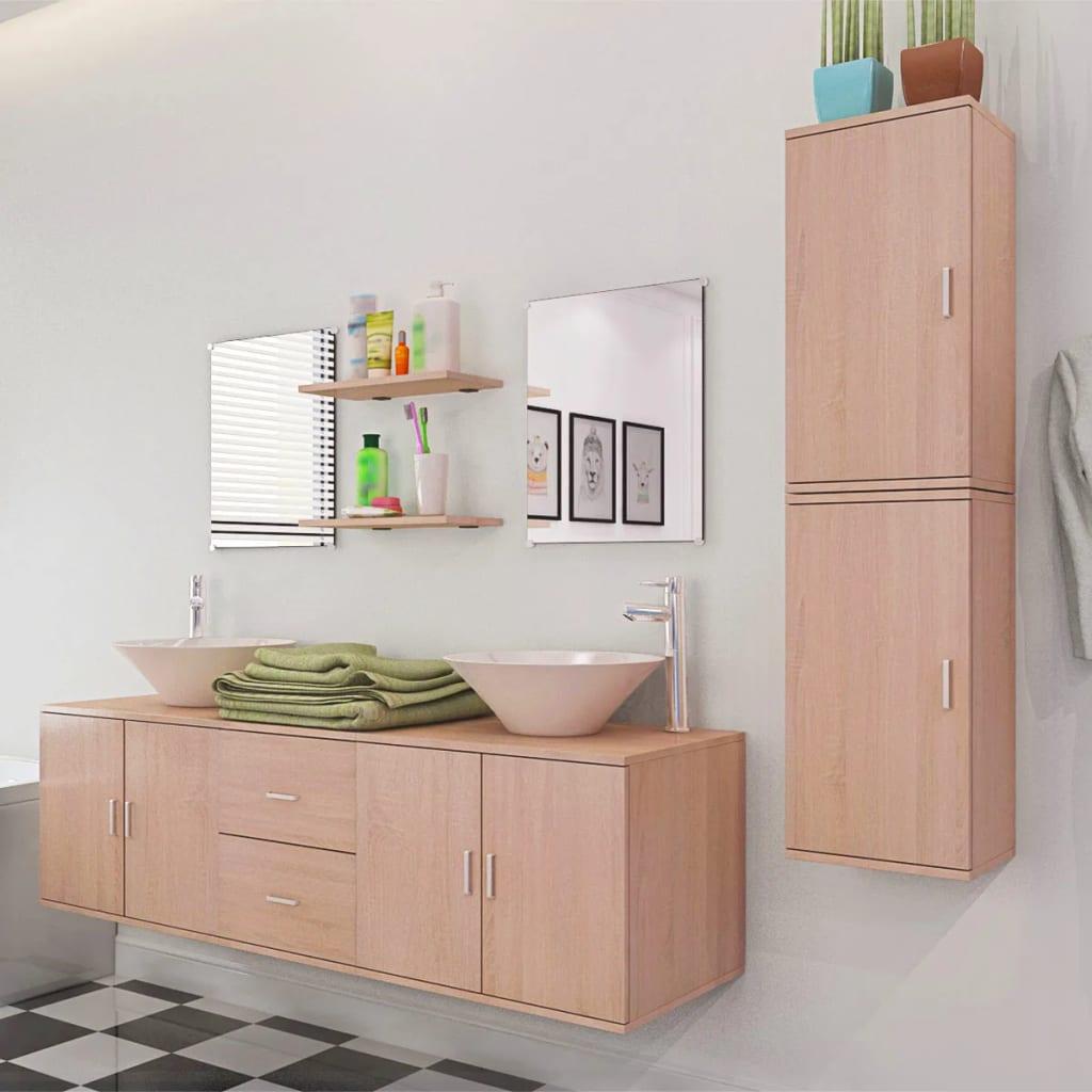 Acheter vidaxl 9 pi ces de mobilier de salle de bain et for Mobilier salle bain