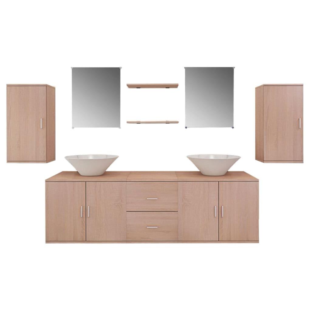 vidaXL 9 elementowy zestaw beżowych mebli łazienkowych i umywalka