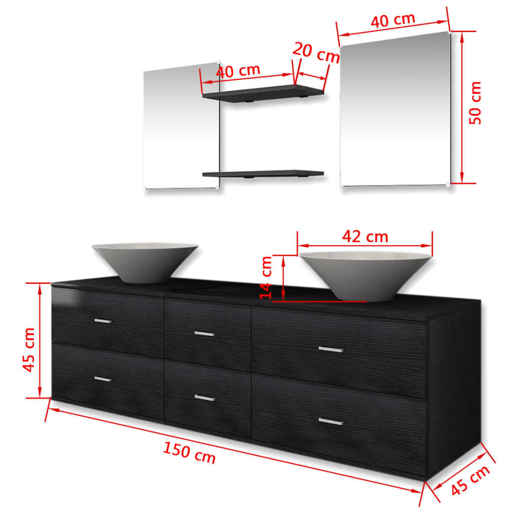 vidaxl 7 tlg badm bel set waschbecken waschtisch unterschrank spiegel regal eur 179 99. Black Bedroom Furniture Sets. Home Design Ideas