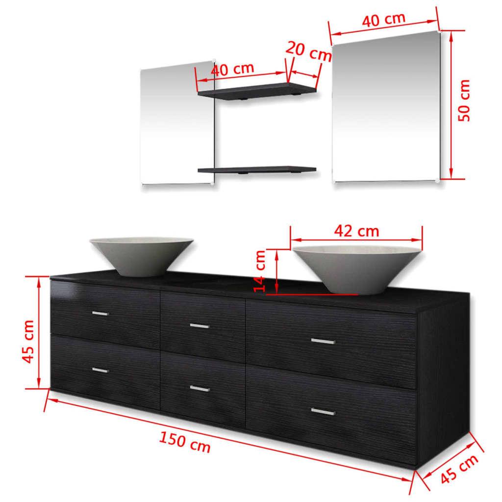 vidaxl 7 tlg badm bel set waschbecken waschtisch unterschrank spiegel regal eur 179 99. Black Bedroom Furniture Sets. Home Design Ideas
