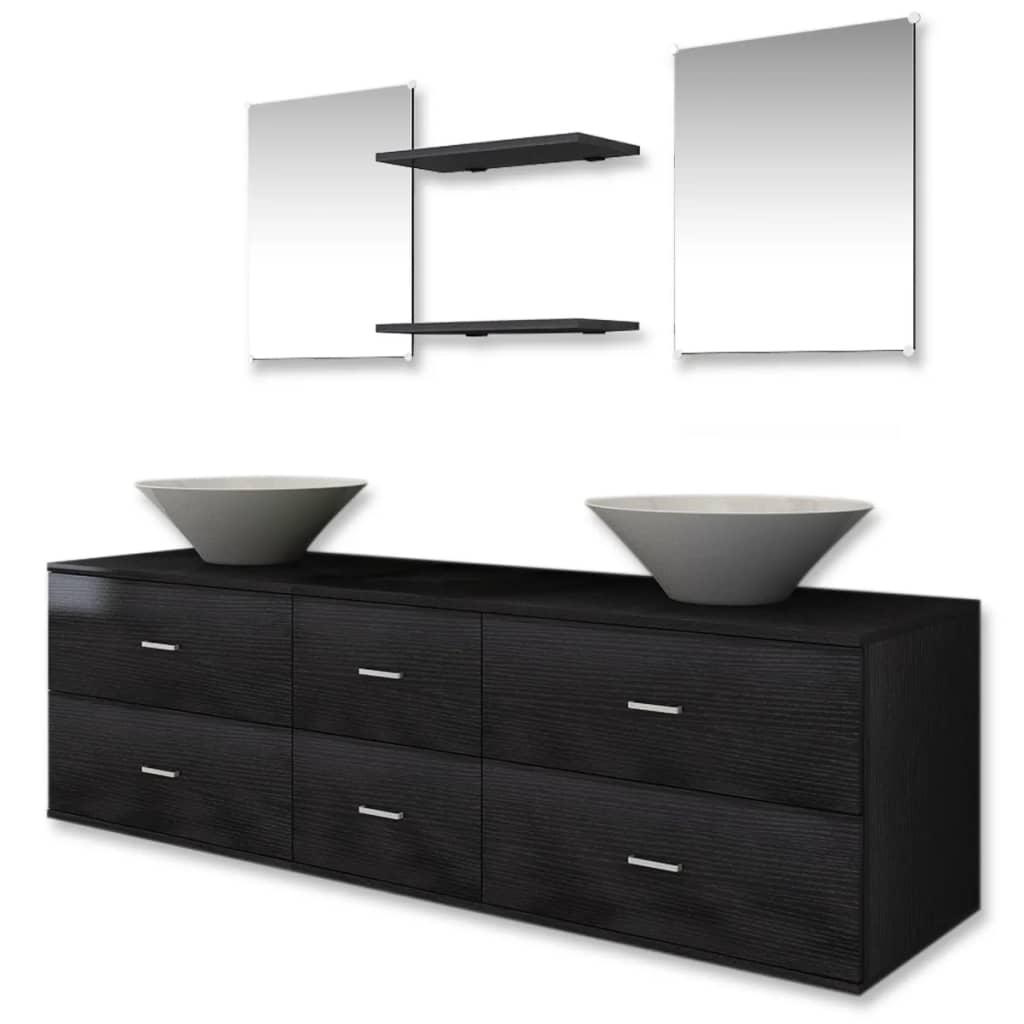 vidaXL 7 elementowy zestaw czarnych mebli łazienkowych i umywalka