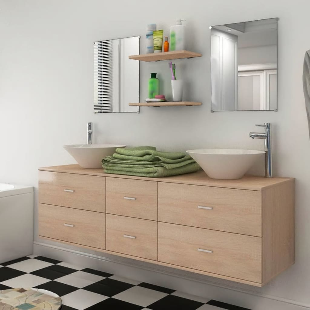 la boutique en ligne vidaxl 7 pi ces de mobilier de salle de bain et lavabo beige. Black Bedroom Furniture Sets. Home Design Ideas