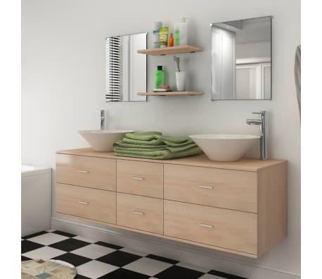 ... pièces de mobilier de salle de bain et lavabo Beige  vidaXL.fr