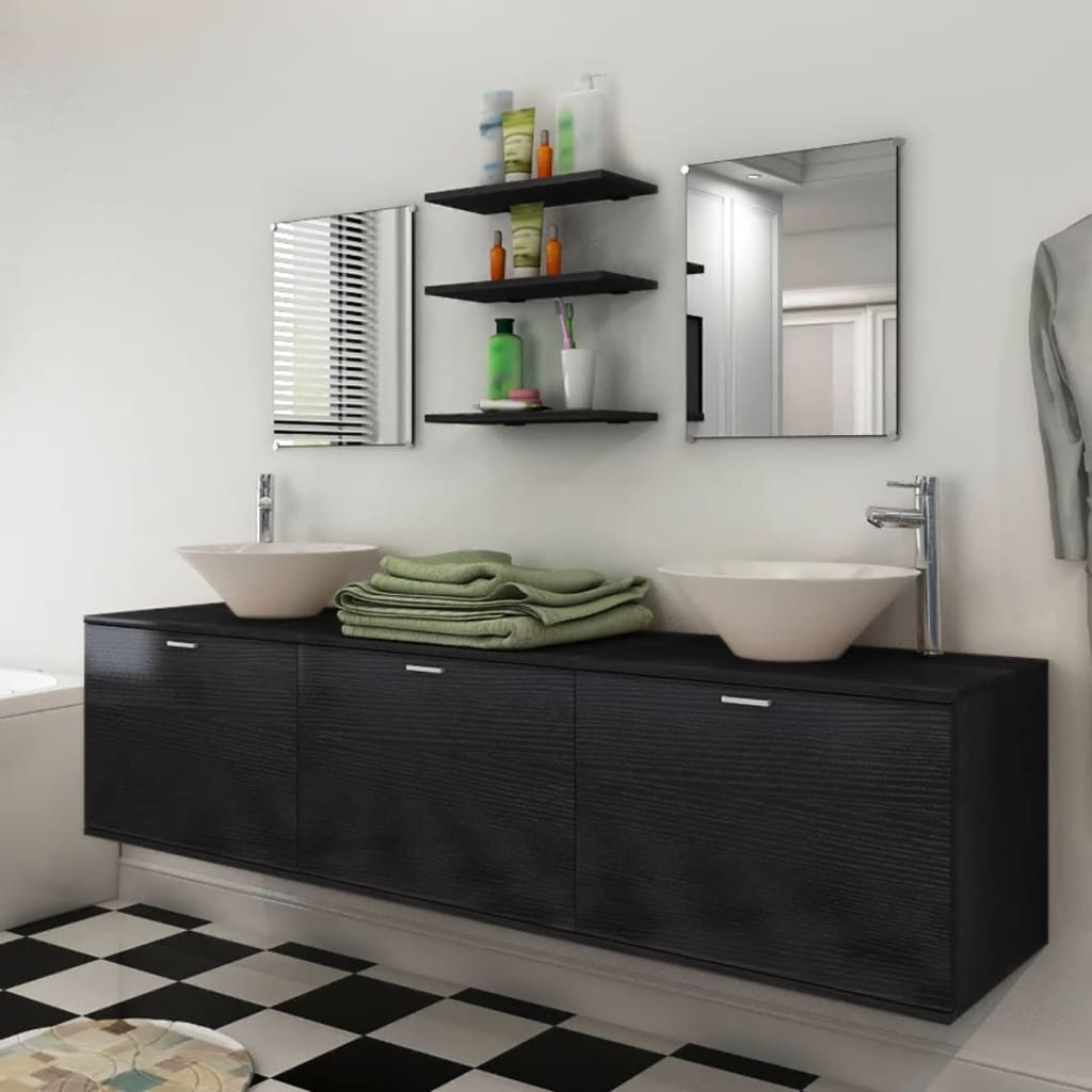 la boutique en ligne vidaxl 8 pi ces de mobilier de salle de bain et lavabo noir. Black Bedroom Furniture Sets. Home Design Ideas