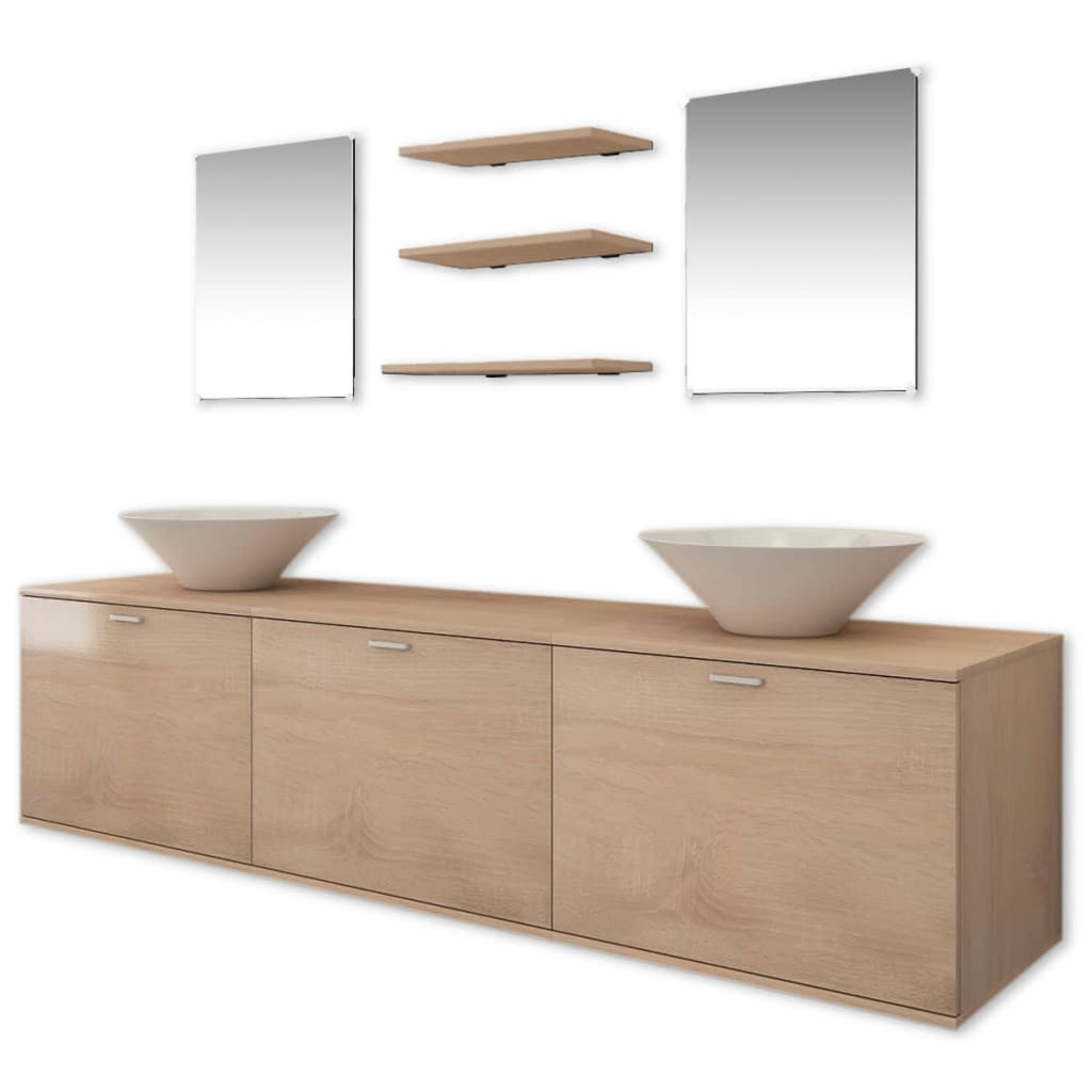 vidaxl eight piece bathroom furniture and basin set beige