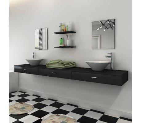 Vidaxl set 7 pz mobili da bagno e lavandino nero for Mobili a buon prezzo