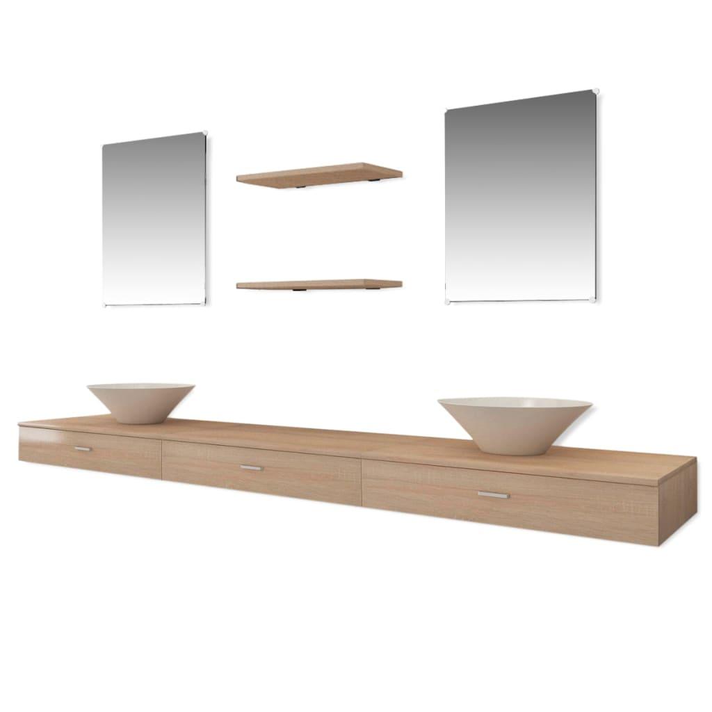 vidaxl 7 tlg badm bel und waschbecken set beige g nstig. Black Bedroom Furniture Sets. Home Design Ideas