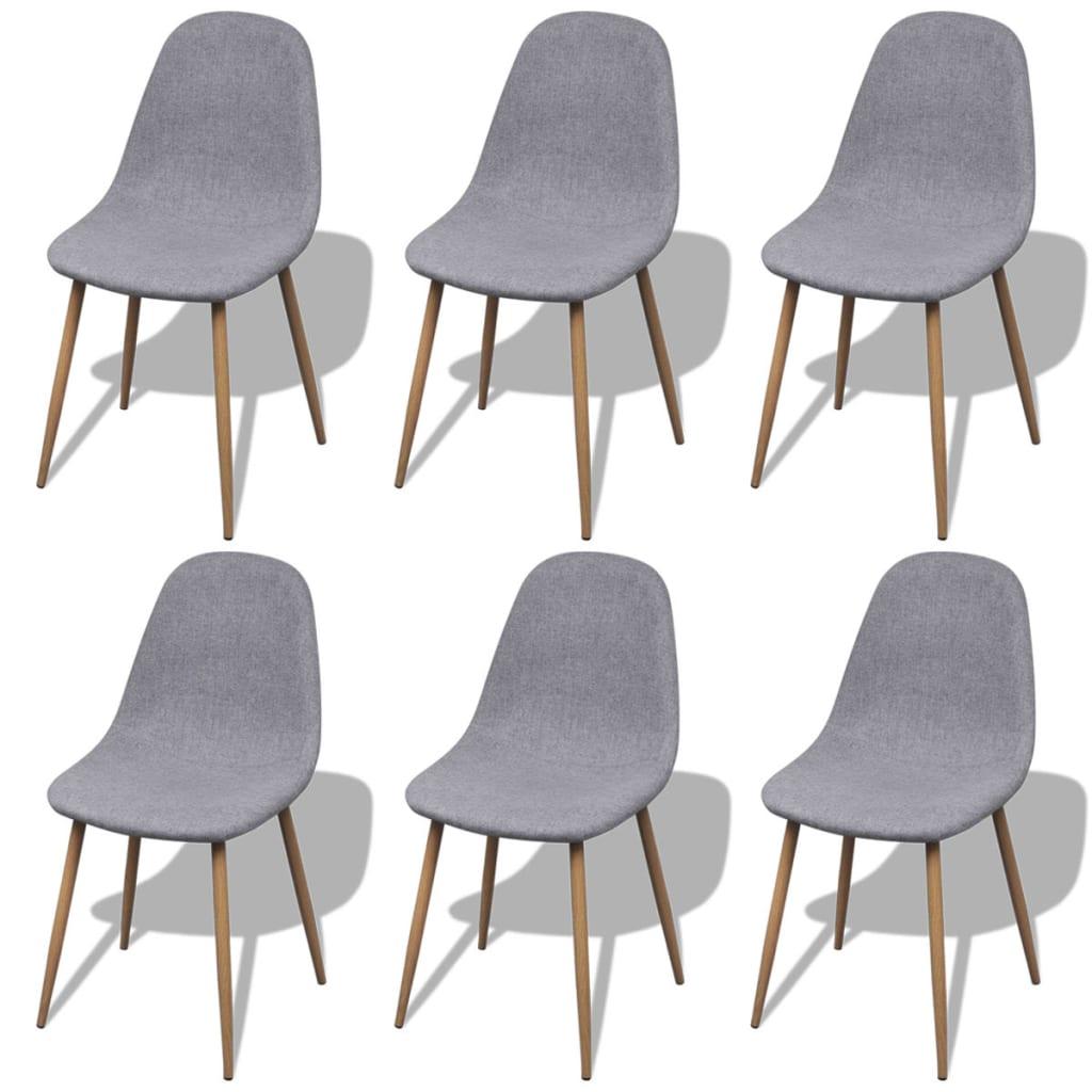 6 hellgraue esszimmerst hle mit stoffbezug und eisenbeinen. Black Bedroom Furniture Sets. Home Design Ideas