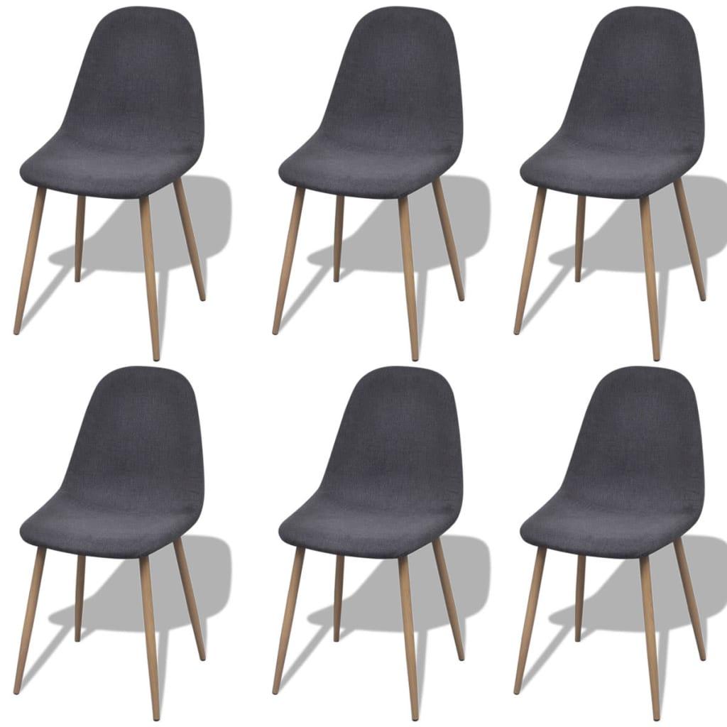 6 sillas de tela con patas de hierro color gris claro - Tela para sillas ...