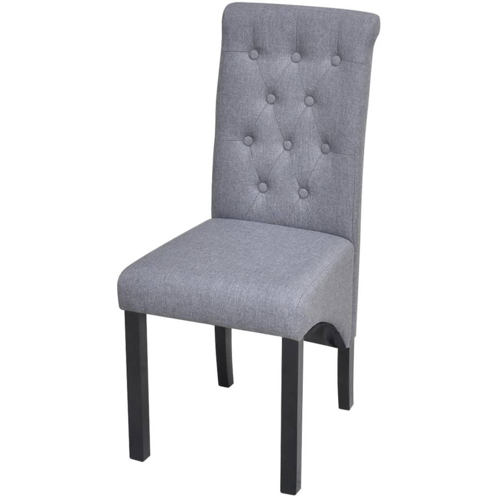 4 sillas de comedor de tela gris oscuro con espaldar alto for Sillas de tela comedor