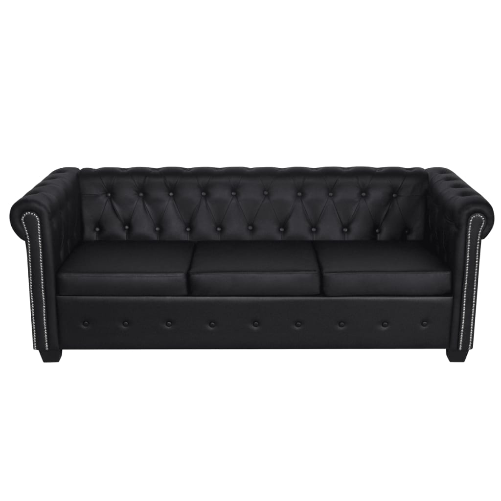la boutique en ligne set de canap chesterfield de 2 places et 3 places noir. Black Bedroom Furniture Sets. Home Design Ideas