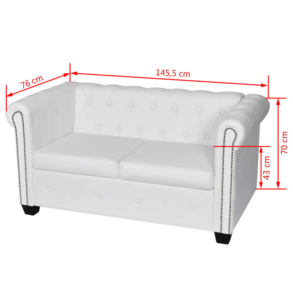 Black White 3 2 3 2 Seater Chesterfield Leather Sofa