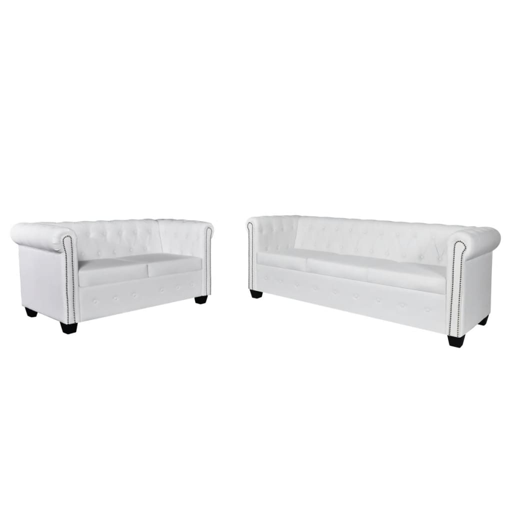 la boutique en ligne set de canap chesterfield de 2 places et 3 places blanc. Black Bedroom Furniture Sets. Home Design Ideas