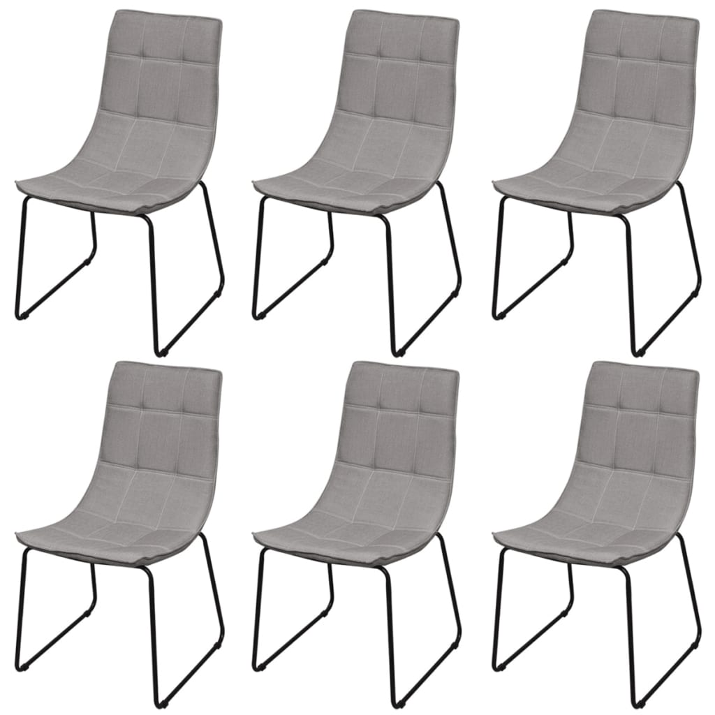 6 sillas de comedor gris claro con patas de acero for Sillas grises para comedor
