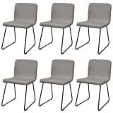 6 Chaises en tissu et pieds en fer pour salle à manger Gris Clair