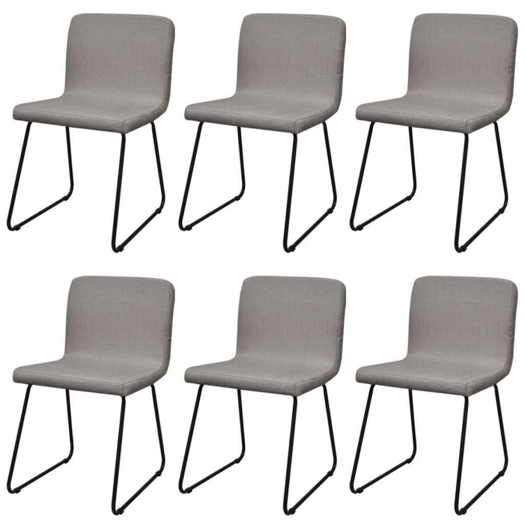 6 hellgraue esszimmerst hle stoffbezug mit eisenbeinen g nstig kaufen. Black Bedroom Furniture Sets. Home Design Ideas