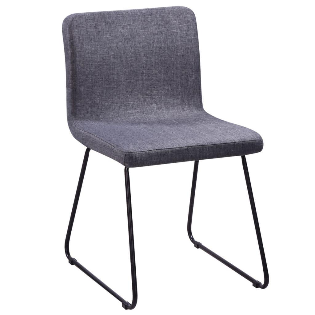 6 sillas de comedor de tela gris oscuro con patas de acero for Sillas de tela comedor