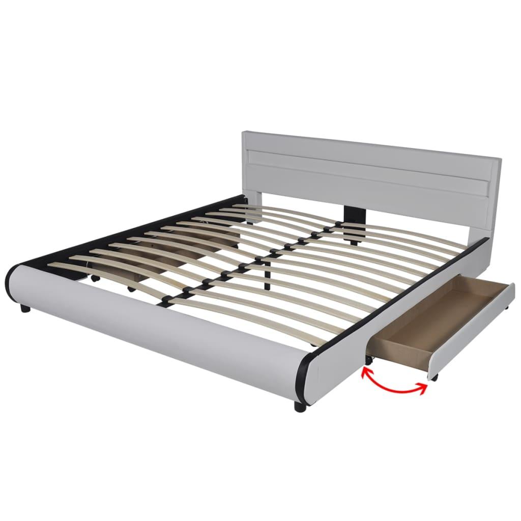 kunstlederbett mit led leiste am kopfteil 180 cm matratze g nstig kaufen. Black Bedroom Furniture Sets. Home Design Ideas