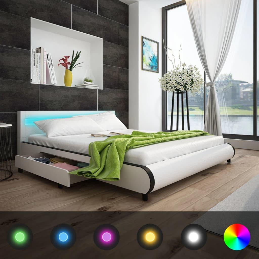 vidaXL Műbőr ágykeret matraccal és LEDes fejtámlával 180 cm