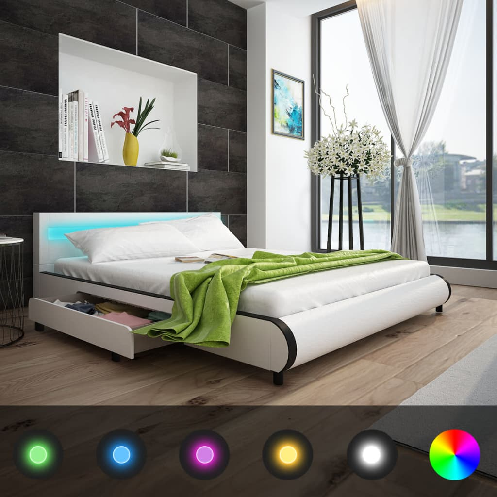 kunstlederbett mit led leiste am kopfteil 180 cm memory matratze g nstig kaufen. Black Bedroom Furniture Sets. Home Design Ideas
