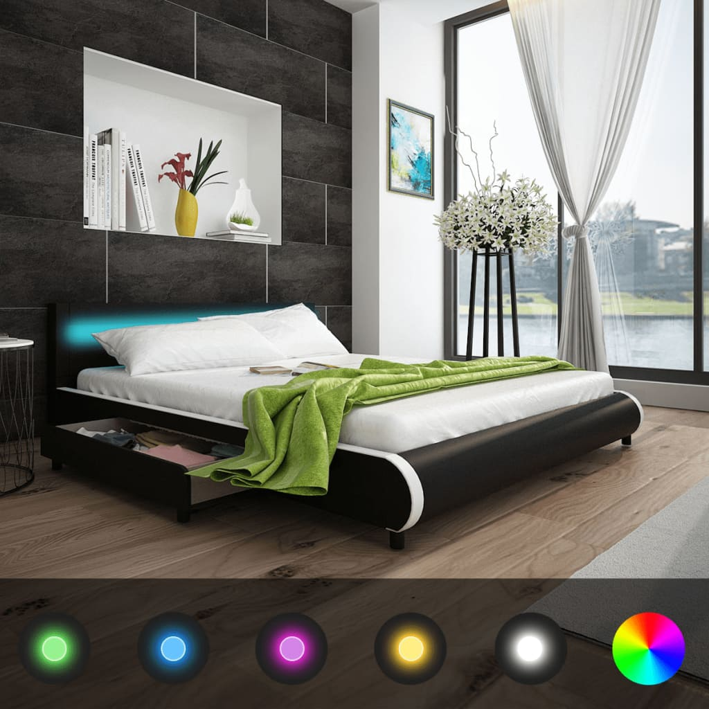la boutique en ligne lit de 180 cm avec t te de lit et led matelas m moire. Black Bedroom Furniture Sets. Home Design Ideas
