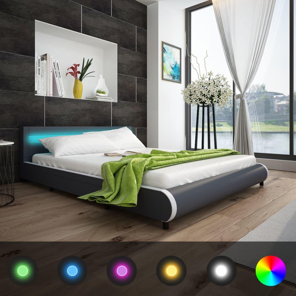 acheter lit de 180 cm avec t te de lit et led matelas m moire de forme pas cher. Black Bedroom Furniture Sets. Home Design Ideas