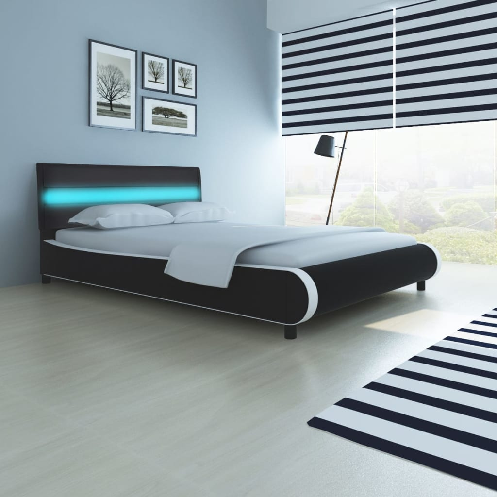 acheter lit de 140 cm avec t te de lit et lumi re led. Black Bedroom Furniture Sets. Home Design Ideas
