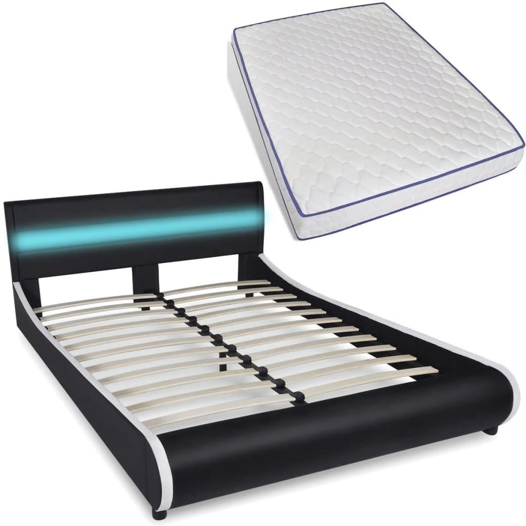 bett mit led streifen am kopfteil memory matratze 140 cm. Black Bedroom Furniture Sets. Home Design Ideas