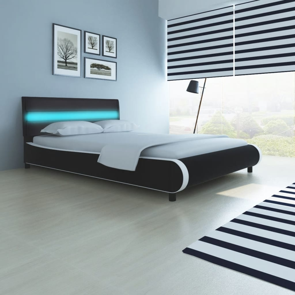bett mit led streifen am kopfteil memory matratze 140 cm g nstig kaufen. Black Bedroom Furniture Sets. Home Design Ideas