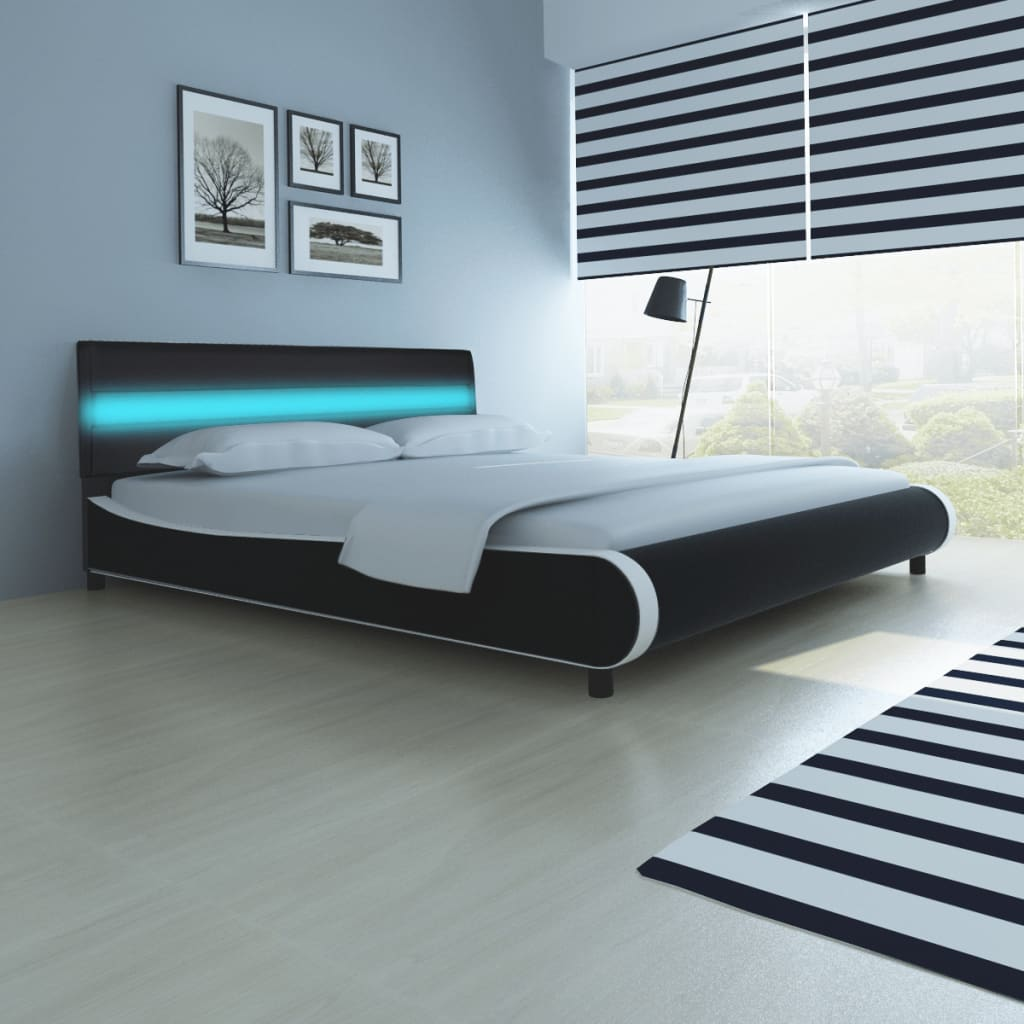 acheter lit 180 cm avec t te de lit led cuir artificiel matelas pas cher. Black Bedroom Furniture Sets. Home Design Ideas