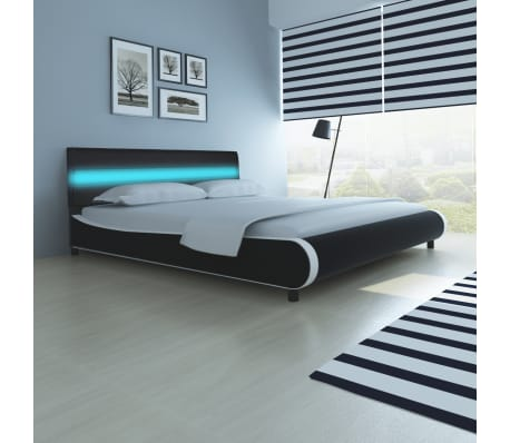 kunstlederbett mit led streifen am kopfteil 180 cm matratze im vidaxl trendshop. Black Bedroom Furniture Sets. Home Design Ideas