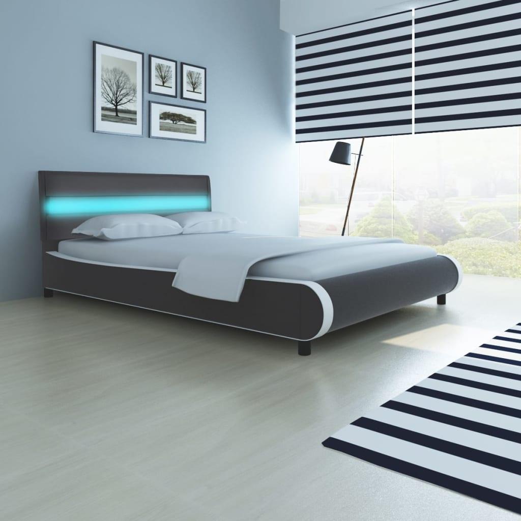 lit en cuir synth tique avec t te de lit led et matelas lit double lit adulte ebay. Black Bedroom Furniture Sets. Home Design Ideas
