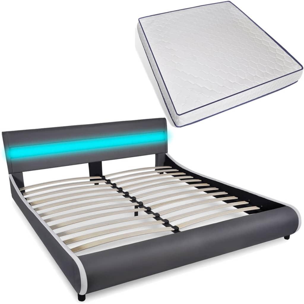 vidaXL Łóżko z oswietleniem LED w zagłówku + materac piankowy memory