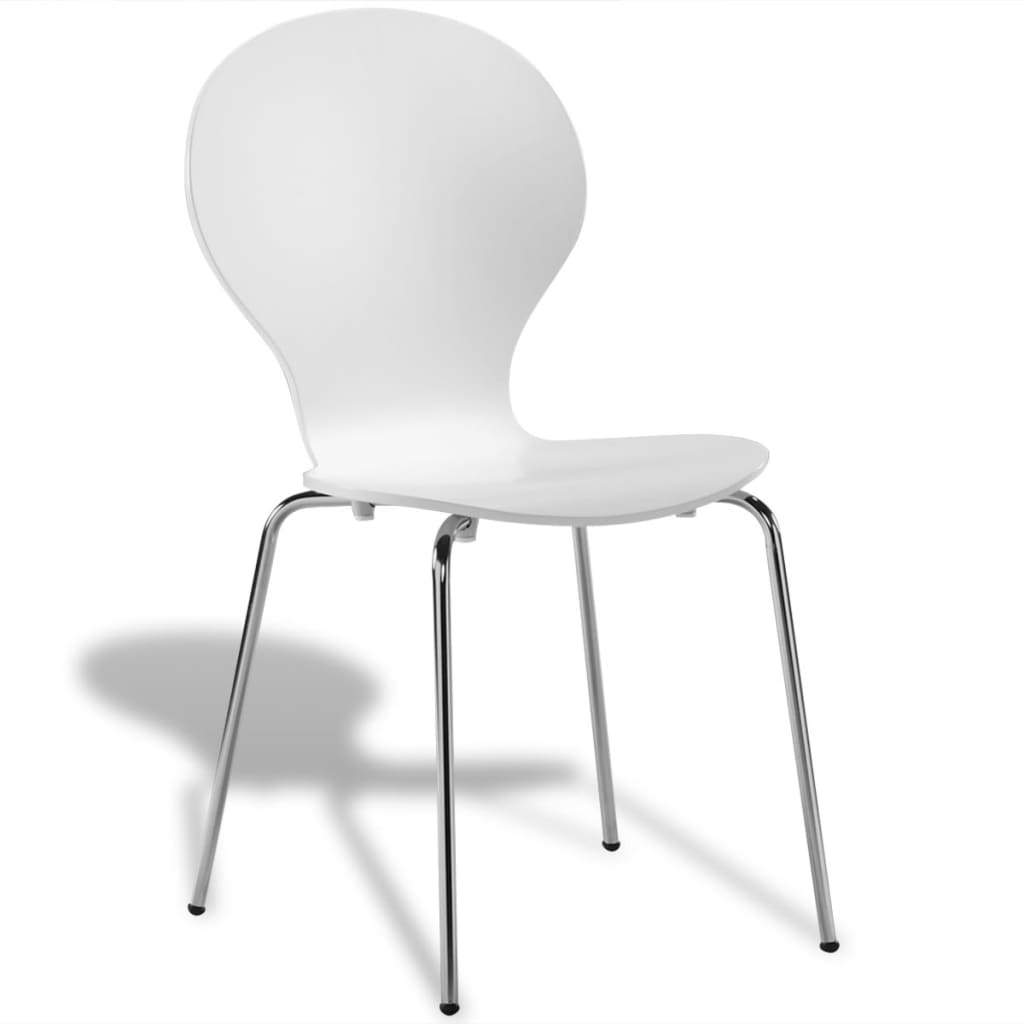 6 stackable butterfly dining chairs white for Stackable dining room chairs