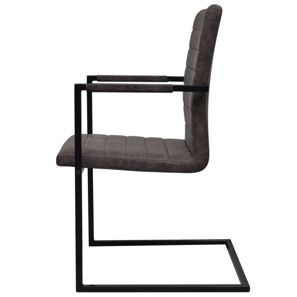 der 4 freischwinger esszimmerst hle mit armlehnen braun. Black Bedroom Furniture Sets. Home Design Ideas