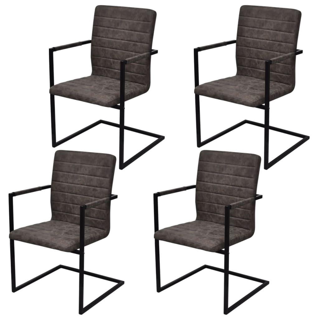 Conjunto 4 cadeiras de jantar cantiléver rugosas com braços  #373130 1024x1024