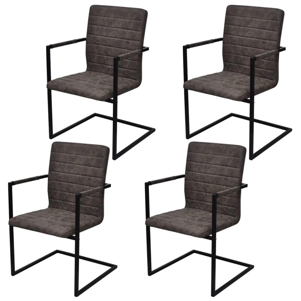 4 freischwinger esszimmerst hle mit armlehnen braun geriffelt g nstig kaufen. Black Bedroom Furniture Sets. Home Design Ideas