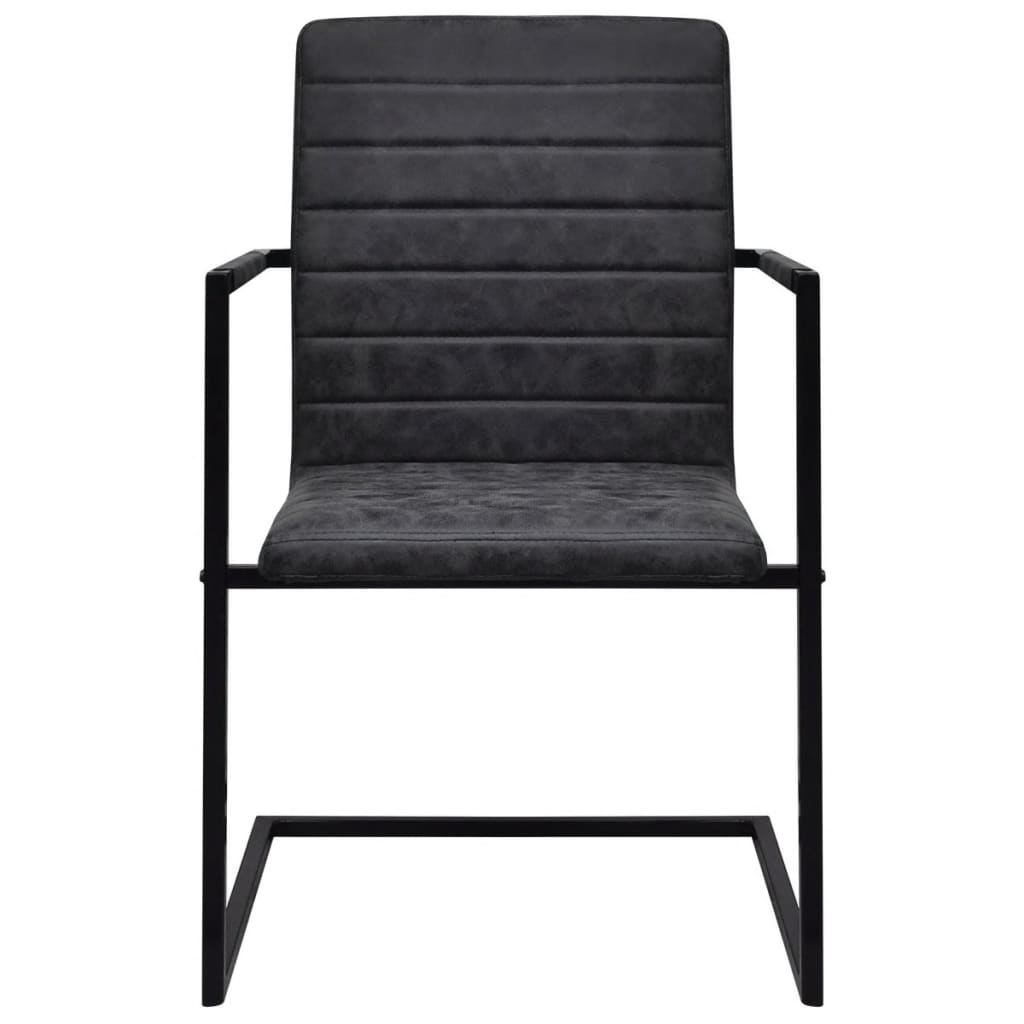 4 freischwinger esszimmerst hle mit armlehnen schwarz geriffelt g nstig kaufen. Black Bedroom Furniture Sets. Home Design Ideas