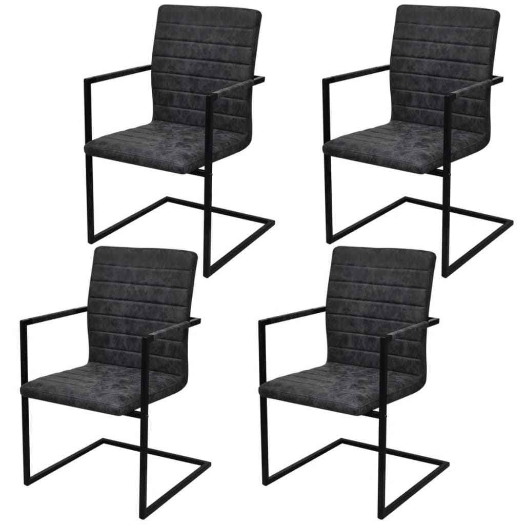 4 sillas de comedor acanaladas tipo cantilever con for Sillas comedor con reposabrazos